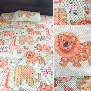 Vintage 1960's mod animal print sheet & pillowcase